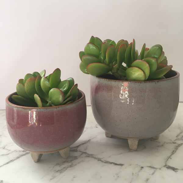 Footed Plant Pot - Pink
