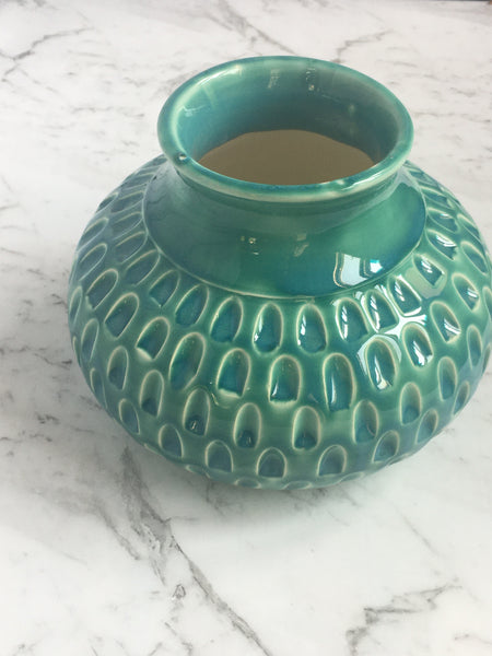 Vase carved - Turquoise