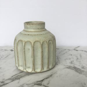 Bud Vase - Carved - Crusty White
