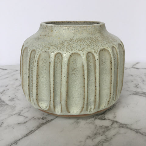 Medium Vase - Carved - Crusty White