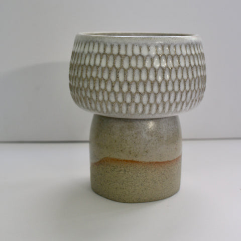 Carved Pedestal Bowl - White