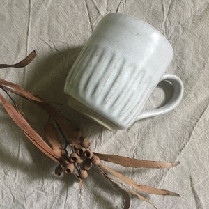 NEW - Handled Mug - Carved White
