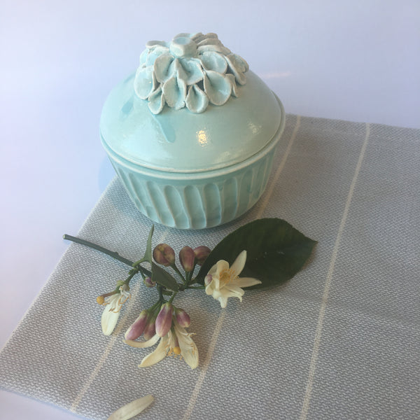 Leaf-Lidded Trinket Box - Pale Blue