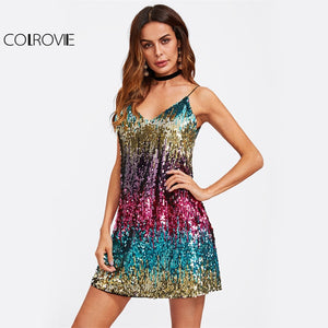 COLROVIE Colorful Sequin Party Club Dress Women Sexy A Line Mini Summer Cami Dresses Fashion Sleeveless V Neck Hot Dress