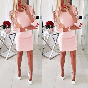 Fall 2018 Fashion Women Shoulder With Lace Casual Vintage Sexy Bodycon Mini Dresses Autumn O-neck Elegant Christmas Party Dress