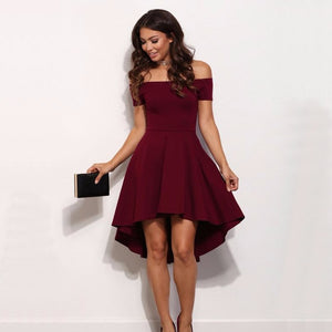 Vintage 2018 Women Sexy Slash neck Solid color Party dress Autumn New Fashion A-Line black Red wine Knee-Length dresses