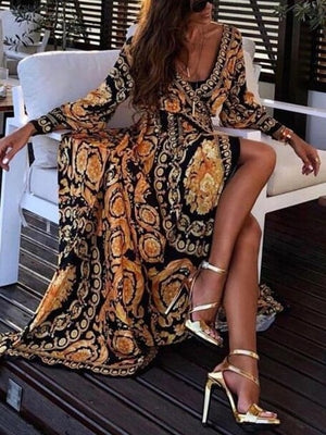 MeiHuiDa 2018 New Style Fashion Elegant Women Sexy Boat Neck Glitter Deep V Neck Print Dress Party Formal Long Dress