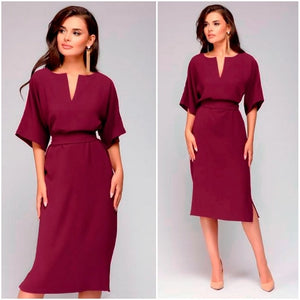 Autumn Dress 2018 Women Casual Elegant Office Dresses Female Sexy V-Neck Knee-Length Burgundy Dress