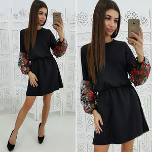 New 2019 Spring Mesh Embroidery Dress Women's Patchwork Casual A Line Dress Vintage Long Sleeve O-Neck Party Mini Dresses