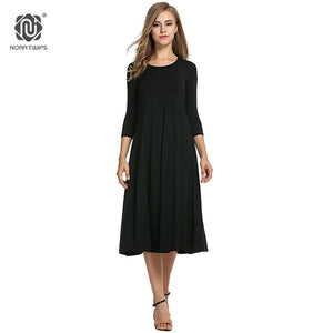 2018 Women Cotton And Linen Vintage Dress Casual Loose Solid Long Draped Dresses Plus Size 2XL 3XL Large Size Party Dresses