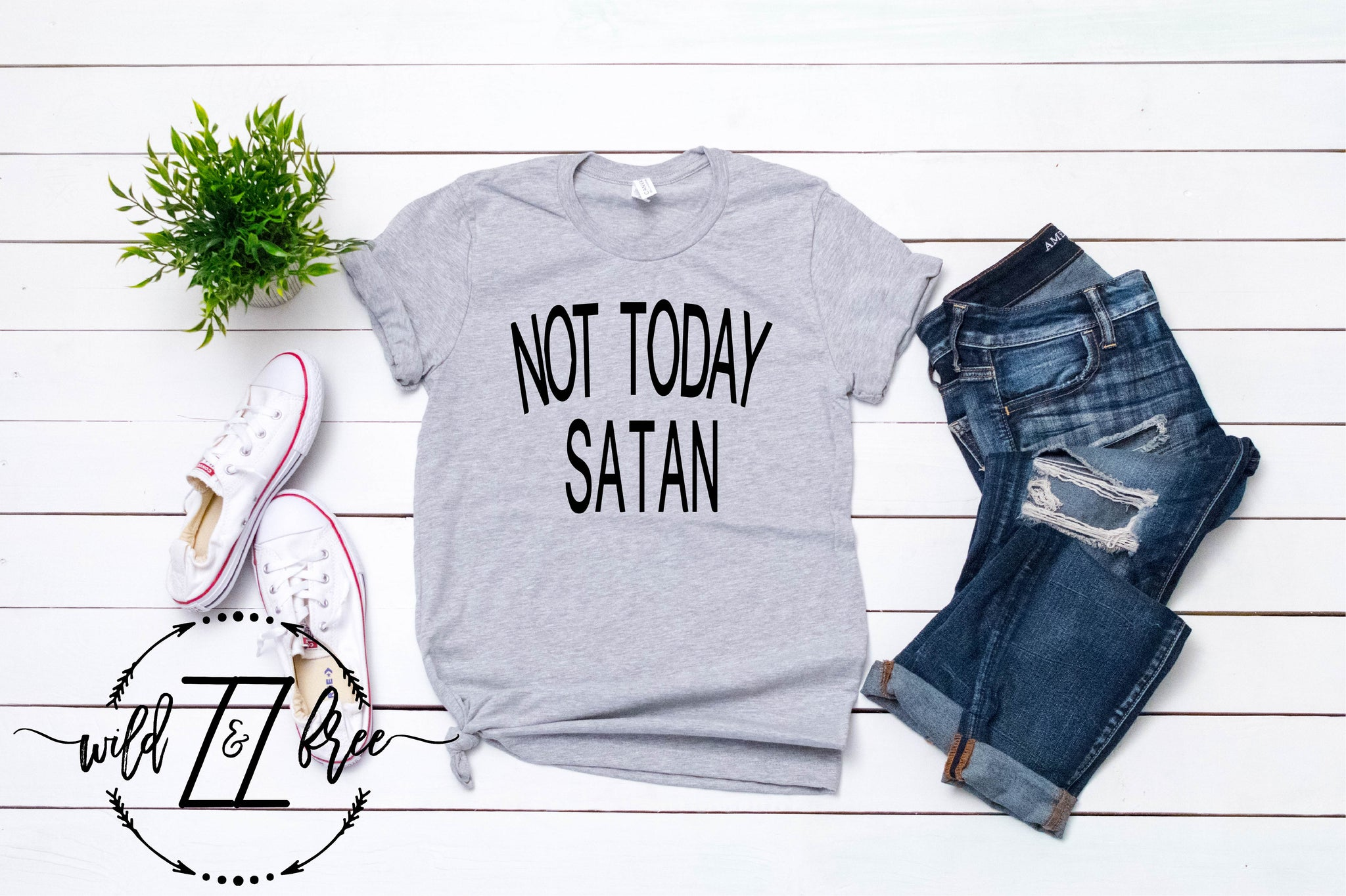 47672c3b8 Load image into Gallery viewer, Not Today Satan-Adult Tee ...