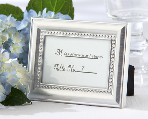 Silver Beaded Photo Frame/Place Card Holder
