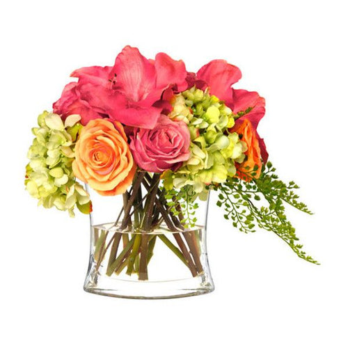 Pink and orange roses with pink amaryllis