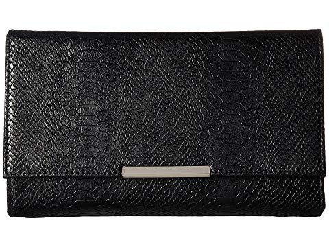 Nora Metallic Snake Envelope Clutch, Black
