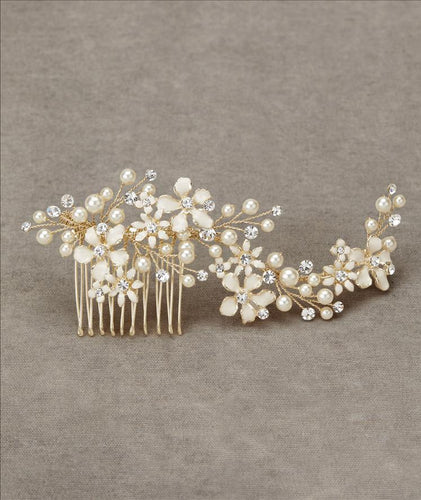 Gold/Off White Comb with Beading