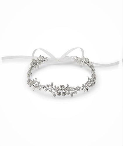 Antique ribbon headband with satin and beading
