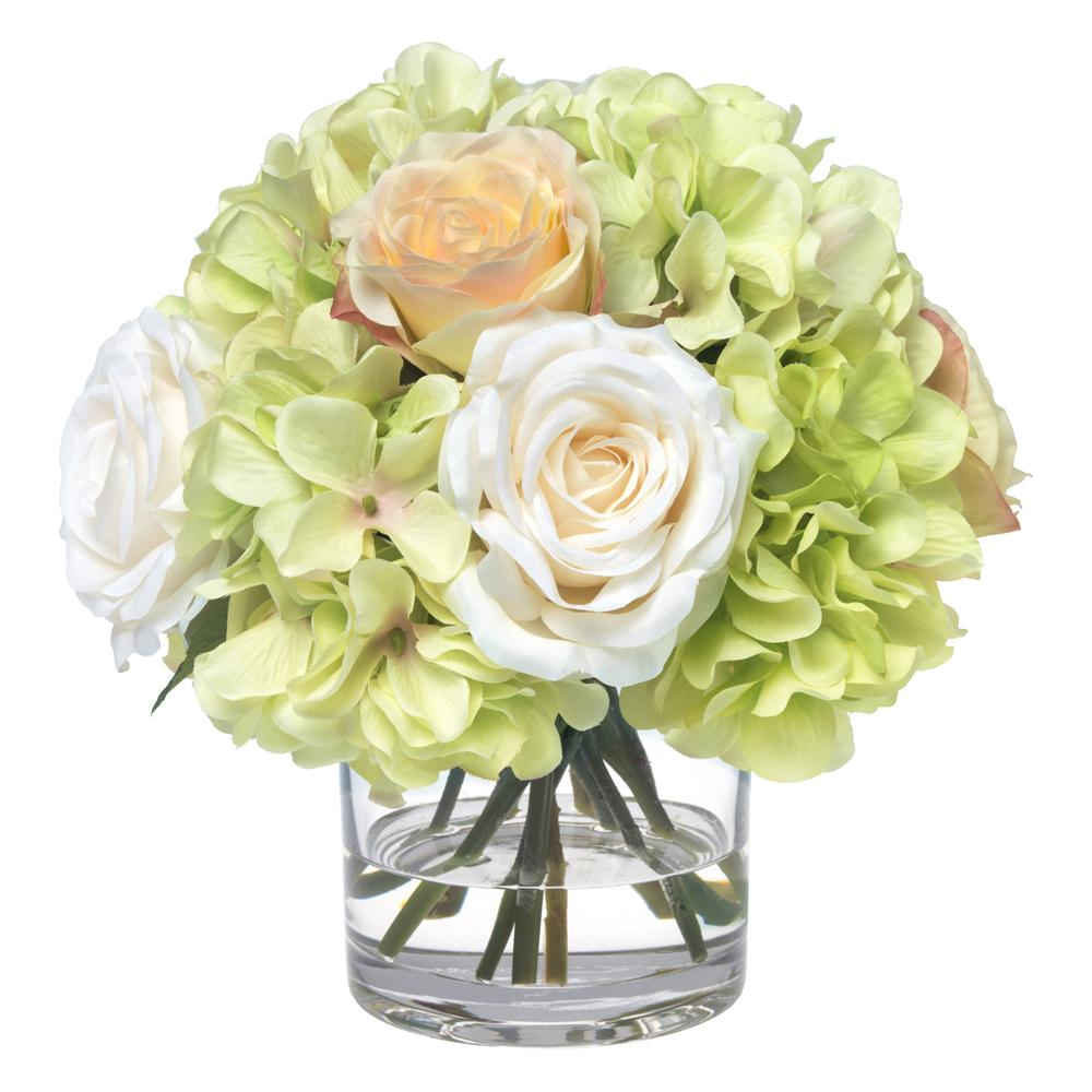 Green hydrangea and rose bouquet in glass cylinder