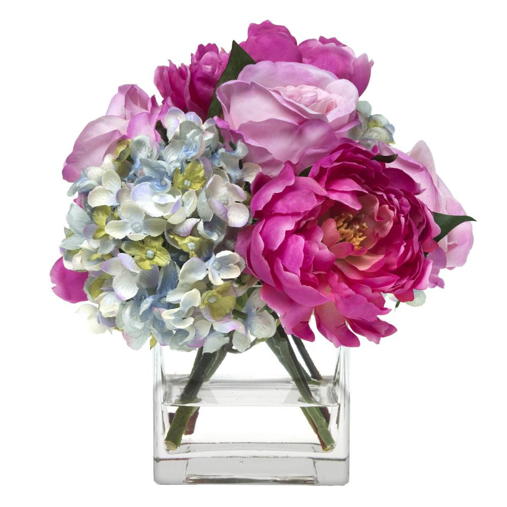 Lavender rose, peony and hydrangea bouquet