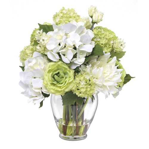 Mixed bouquet with snowball and hops in glass vase