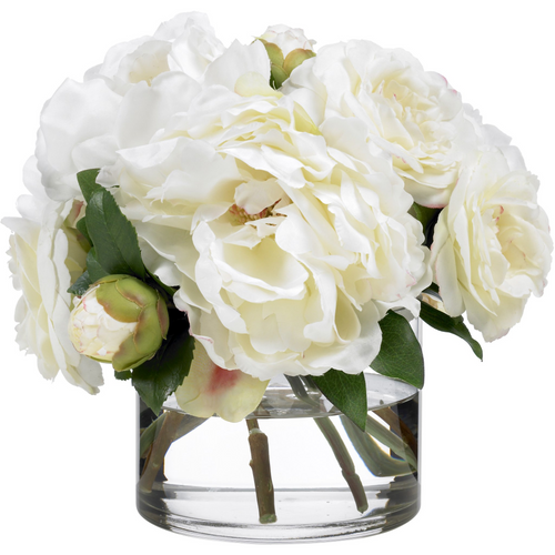 Camellia and peony bouquet in low glass cylinder