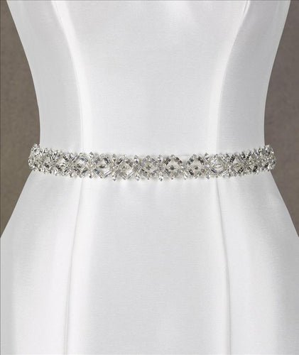 Bridal Belt with Square Crystal Detail