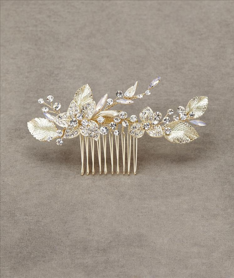 Gold comb with leaf and crystal detail