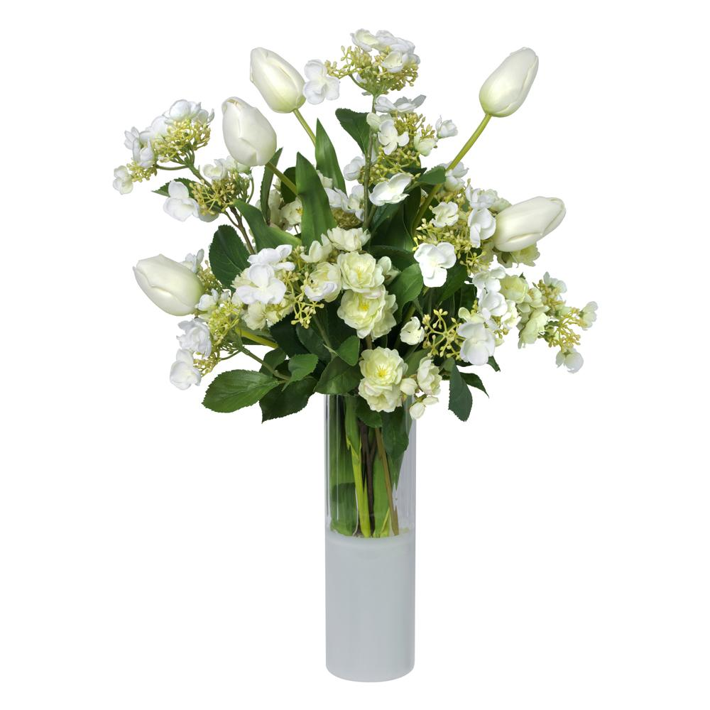 Mixed white bouquet in cylinder with white