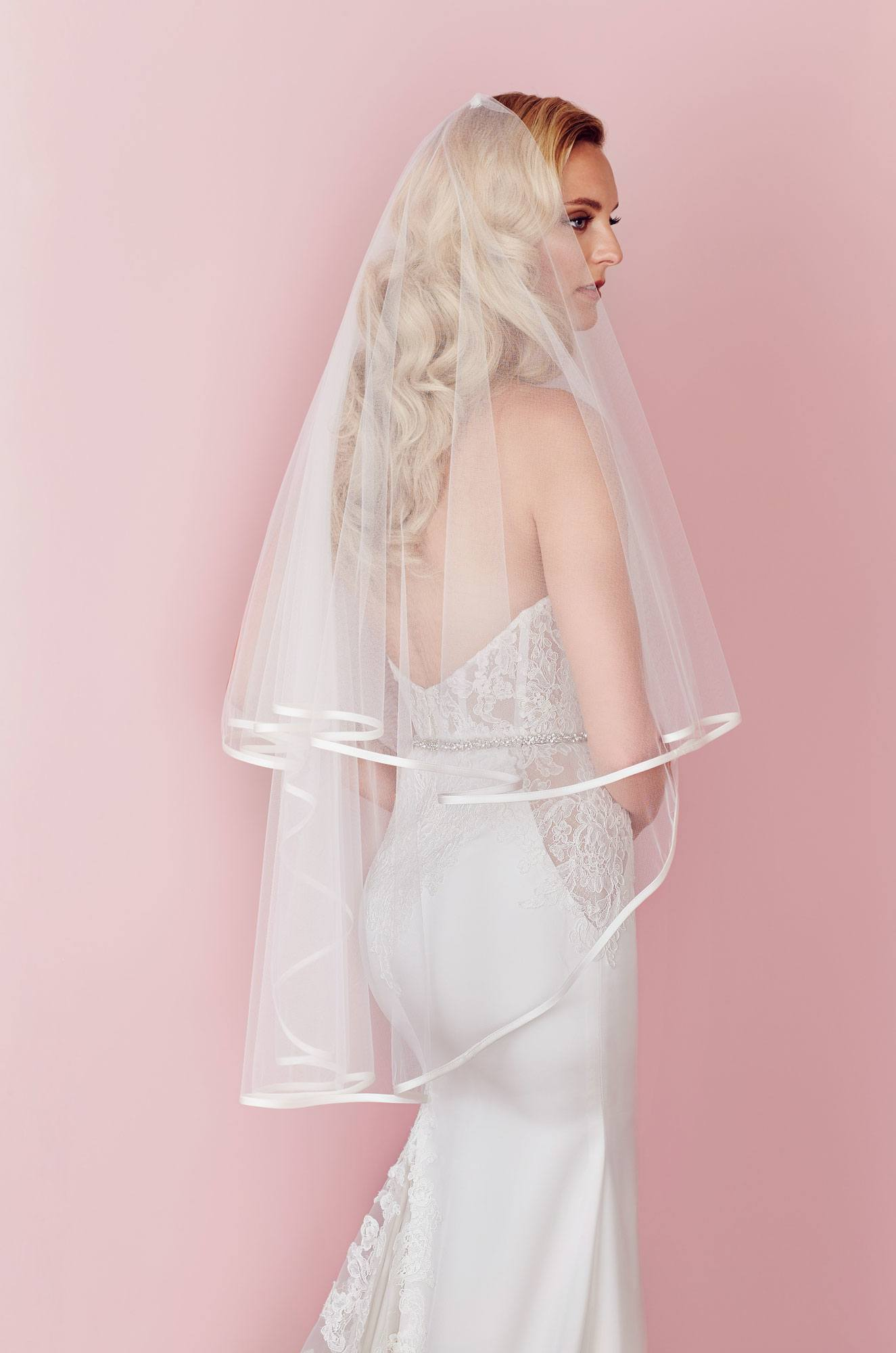 Two tier veil with satin edge, V457F
