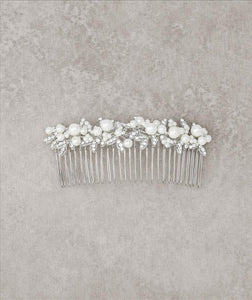 Antique Silver Comb with Pearl Detail
