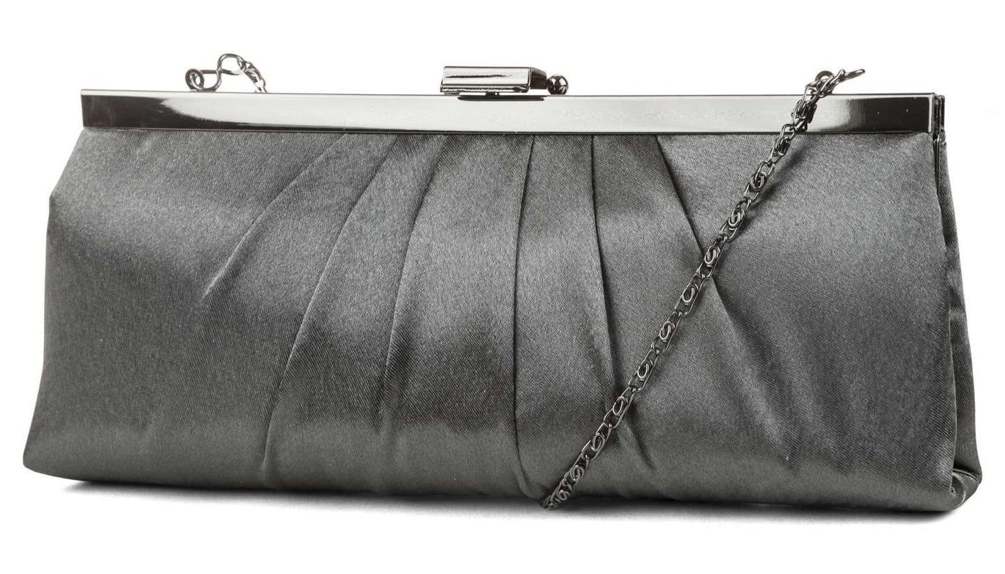 Blaire Framed Clutch, Pewter