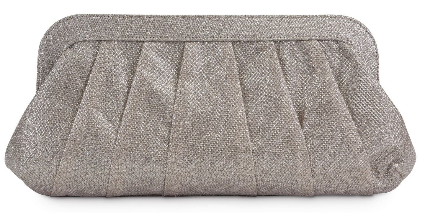 Rita Pleated Clutch, Rose Gold