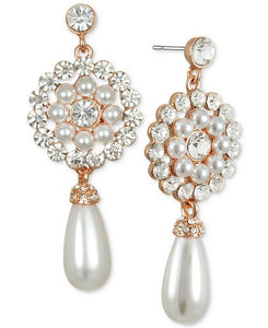 Pearl & Crystal Drop Earring, Rose Gold