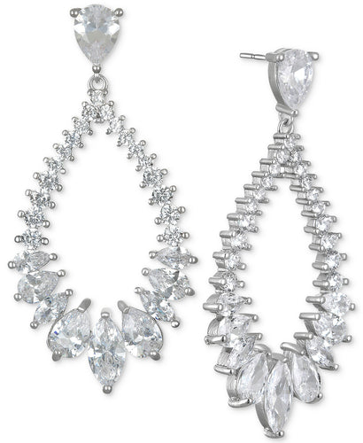 Graduated CZ Hoop Drop Earring
