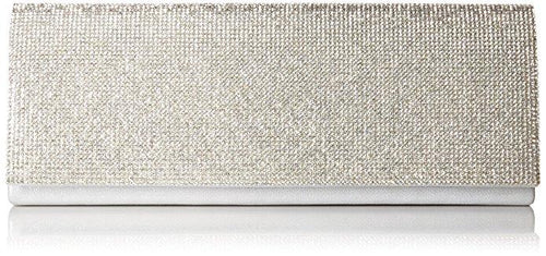 Jennifer Beaded Clutch, Silver