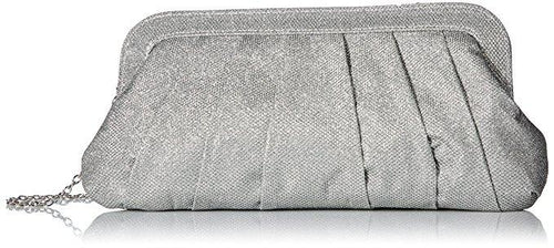 Rita Pleated Clutch, Silver