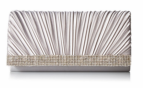 Chloe Pleated Satin Clutch, Silver