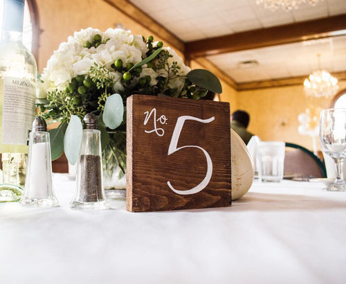 Rustic Wooden Table Numbers 1-6