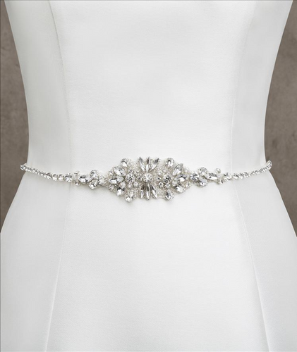 Tulle belt with silver and gemstone appliqué