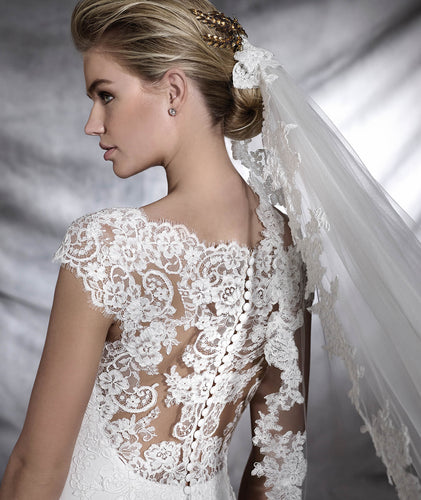 White tulle with floral lace appliqué