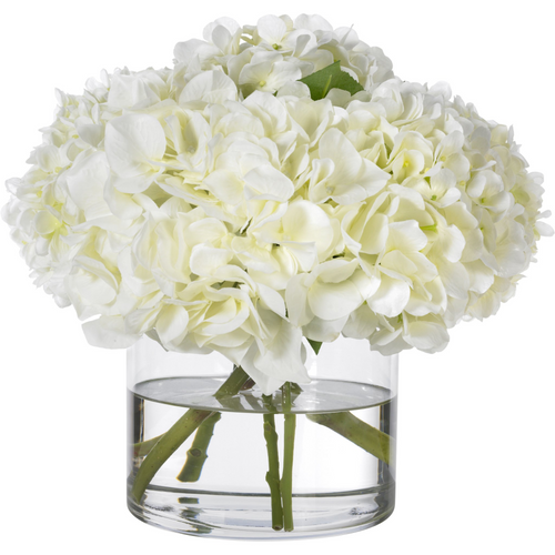 White hydrangeas in glass cylinder