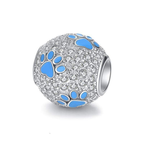 Sparkling Paw Print Bead Charm - The Silver Goose