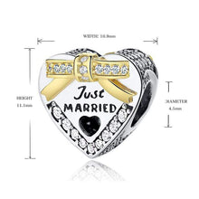 Load image into Gallery viewer, Just Married Heart Charm - The Silver Goose
