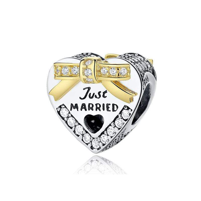 Just Married Heart Charm - The Silver Goose