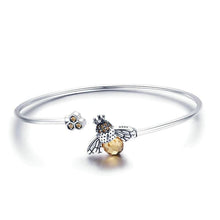 Load image into Gallery viewer, Bee & Honeycomb Bangle Bracelet - The Silver Goose