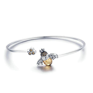 Bee & Honeycomb Bangle Bracelet - The Silver Goose