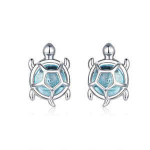 Blue Turtle Earrings - The Silver Goose