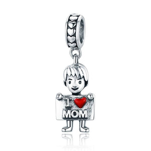 Boy I Love Mom Pendant Charm - The Silver Goose