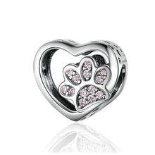 Load image into Gallery viewer, Paw Print in Heart Charm - The Silver Goose