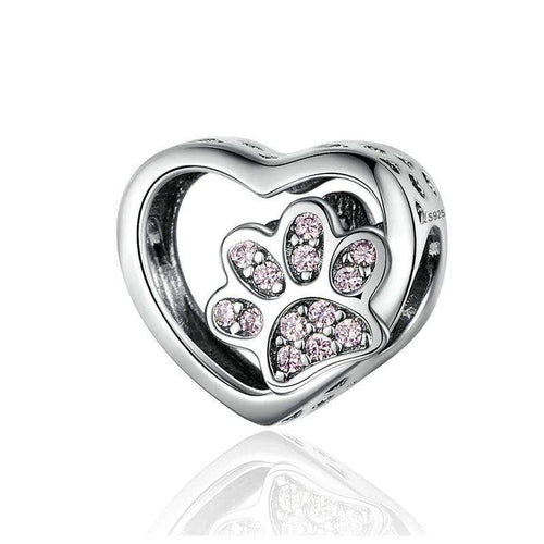 Paw Print in Heart Charm - The Silver Goose