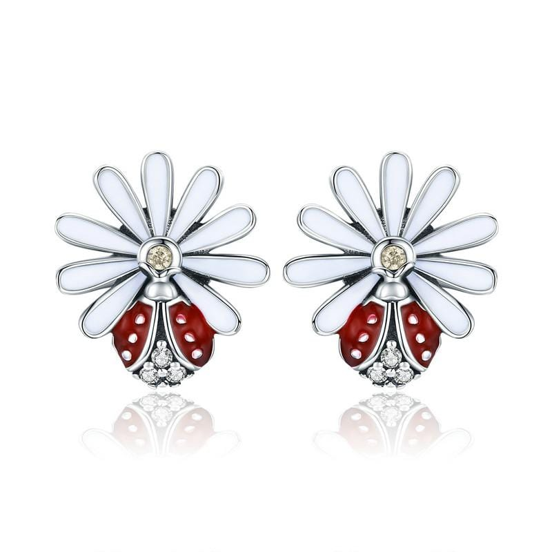 Daisy Ladybug Earrings - The Silver Goose